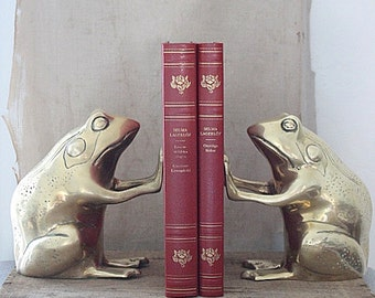 vintage brass frog bookends