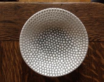 signed vintage Ercole Moretti star murine white Italian glass dish bowl