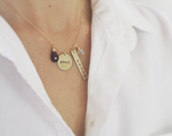 Personalized 14K Gold Filled Mommy Necklace - 2 Children's Necklace, Birthstone Necklace, Charm Necklace, Name Necklace, Family Necklace