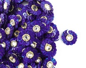 Royal Blue Sequins Beaded Appliques Dress Decor Crafting Appliques Indian Patches Sewing Decorative Floral Patches 12 Pcs / 1Dozen APS260S