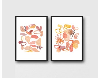 Mother's day gift, set of 2 art prints, watercolor paintings, pink floral watercolor prints romantic Home decor, gift for her