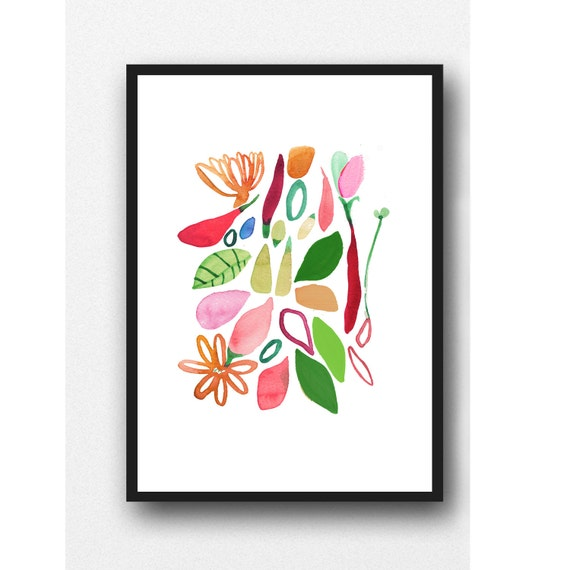 Floral print Kitchen wall decor floral watercolor painting red floral painting gift for her