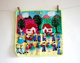 Peruvian Arpillera Textile Collage