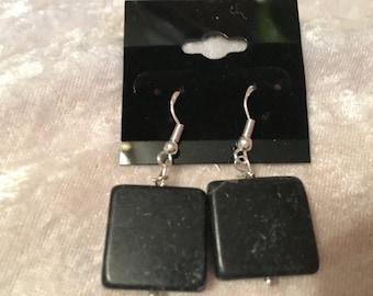 Blackstone Earrings, Dangle Earrings, Square Earrings, Bold Earrings, Black Earrings, Beaded Earrings, Sterling Silver, Blackstone Jewelry