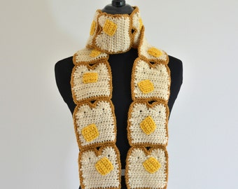 Buttered Toast Scarf, Bread and Butter Breakfast Crocheted Scarf, Adorable for Costumes, Gifts, Teens