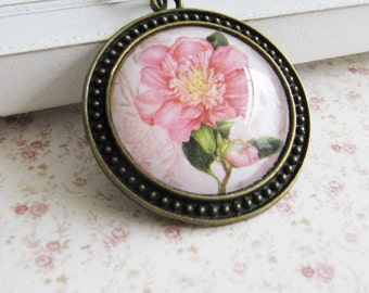 Pink flower pendant necklace - vintage style jewelry - for her - romantic - Europe