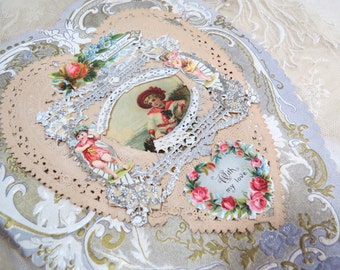 1902 Victorian Valentine Card - With My Love, Scalloped Heart, Die Cut, Litho