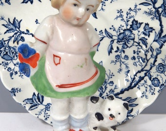 Girl with Kitten Cat & Flowers Figurine, Vintage Made in Japan, Child's Room Decor, Cottage Chic, Porcelain