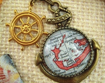Custom Map Jewelry, Bermuda Island Somerset Vintage Map Anchor Pendant Necklace, Map Jewelry, Personalized Gifts, Bridesmaids Gifts