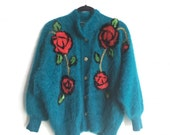 Vintage Turquoise Furry Rose Cardigan / Retro Fuzzy Flower Sweater