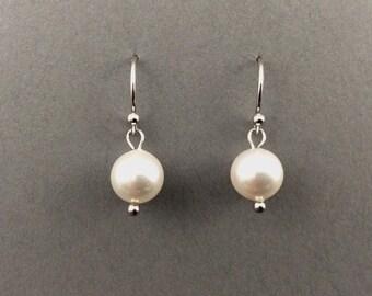 Pearl Earrings Bridal Pearl Earrings With 8mm Round Swarovski Crystal Pearls