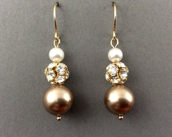 Bridal Pearl Earrings In Gold Rhinestone With Cream And Bronze Swarovski Crystal Pearls