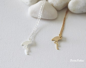Flamingo Necklace in Silver/ Gold. Bird Necklace.  Animal. Valentine Gift. Gift For Her (PNL-105)