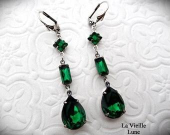 Emerald Victorian Earrings, Victorian Jewelry Green Jewel Earrings in Silver