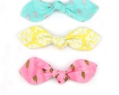 Top Knot Bow Hair Clip, Pony Tail Hair Tie in Blue Yellow Pink Knit Jersey
