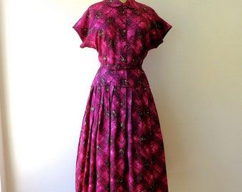 Vintage 1950's Fuchsia Swing Dress Medium/50's Atomic Print Full Skirt Dress/Atomic Print Swing Dress Medium