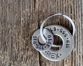 Dog Tag with two numbers - Hand stamped by Rawkette