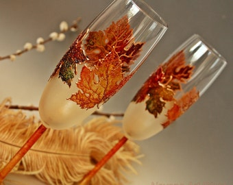 Fall Wedding Glasses, Champagne Glasses, Autumn Wedding, Maple Leaves Glasses, Hand Painted Set of 2