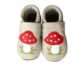 Mushrooms Leather Baby Booties, Baby Shoes, Infant Newborn Children Beige