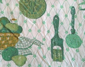 Green Vintage Kitchen Novelty Print Cotton Fabric 3 Yards X0585