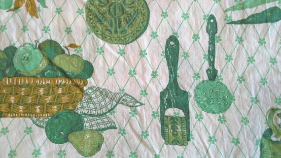 Green Vintage Kitchen Novelty Print Cotton Fabric 3 Yards
