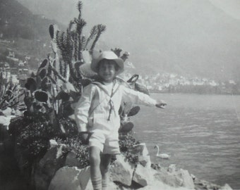 Vintage Summer Photograph - Boy in a Sailor Suit Stood by a Lake