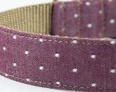 Chambray Burgundy Dot Dog Collar