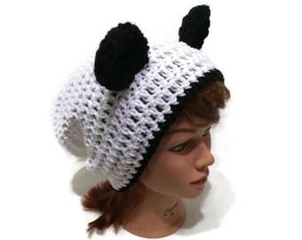 Panda Bear Hat, Slouchy Panda Hat, Panda Ears Beanie, Novelty Hat, Panda Bear, Silly Beanie, Kawaii Hat, Panda Cosplay, Panda Costume