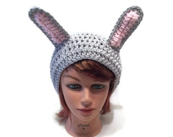 Grey Bunny Hat, Slouchy Bunny Hat, Grey Bunny Ears, Bunny Cosplay, Rabbit Hat, Rabbit Cosplay, Grey Rabbit Beanie, Kawaii Bunny Hat, Kawaii