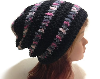 Striped Slouchy Hat, Ombre Pink Hat, Hipster Slouchy Hat, Sparkly Hat, Kawaii Hat, Sparkly Beanie, Fuzzy Beanie, Striped Hat, Winter Beanie
