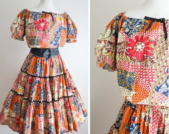 1950s Novelty print patchwork patio set / 50s tiered full skirt & gathered off shoulder orange blue cream peasant top S