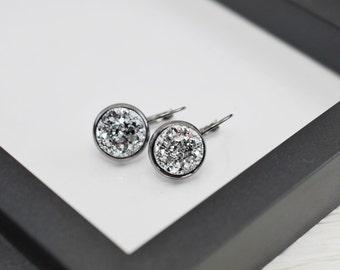 Silver Druzy Earrings, Druzy Earrings, Gunmetal Earrings, Metallic Silver Earrings, Faux Druzy Earrings, Free Shipping, Gift For Her