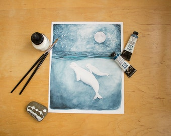 The White Whales - Watercolor illustration print. Nautical, ocean theme. Whimsical mother and baby beluga whale print.