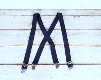 Vintage wide dark navy blue stretch clip suspenders/blue braces/lumberjack suspenders