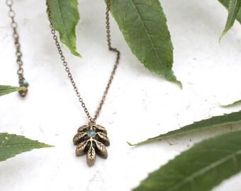 Ash Leaf Necklace, Ash Tree Pendant, Blue Onyx Stone, Leaf Jewellery, Nature Inspired Jewelry, Ash Leaf Charm, Tree Art, Ash Tree Jewellery