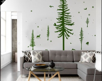 Mountain Pine Trees - Tree wall decal - 5 pines sticker vinyl decor, with owls flying or seated, fawn, birds, squirrel