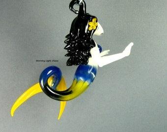 Mermaid Ornament - Lampwork Art Glass - Beach Decor - Hanging Sculpture - ON SALE