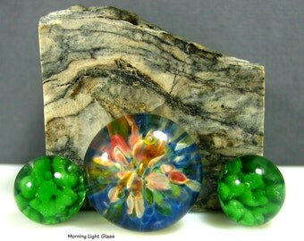 Boro Glass Cabochons -  Lampwork Jewelry Findings -  Spring Meadow - Frit Implosion