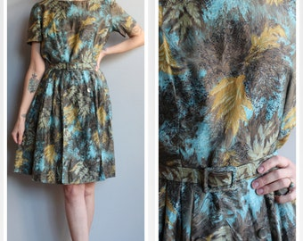 1960s Dress // Feather Leaf Dress // vintage 60s dress