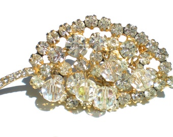Golden Rhinestone Leaf Brooch Vintage Juliana D&E Jewelry with Aurora Borealis Beads on Gold Tone
