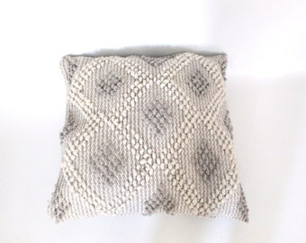X LARGE Wool Pillow / Nubby / Ivory and Gray Diamond Motif / OVERSIZED
