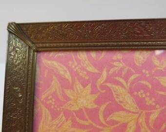 Ornate 5 x 7 Stamped design Brass   Picture Frame Velvet Easel Back