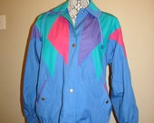 1980s sportswear, colorblock jacket, windbreaker, sports jacket