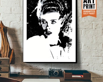 Canvas Art print of the Bride of Frankenstein, Fan Art, Horror Movie art, Gothic, Home Decor, Movie Monster, Art Print, Canvas Print