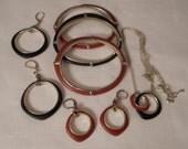 Vintage / FOSSIL / SMALL HANDS / Bangles / Bracelets / Pierced Earrings / Pendant Choker Necklace / Antiqued Gold / Designer / Signed / Lot