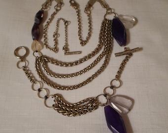 KENNETH COLE / Jewelry Set / Choker Necklace / Bracelet / Purple / Semi-Precious Quartz Stone / Lucite / Designer / Signed / Accessories Lot
