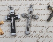 Lot of Antique Vintage French Crucifix Pendant Cross for restoration jewelry jewellery projects