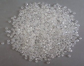 100's of Clear Faceted Loose Glass Beads from Antique Necklaces