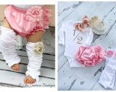 Baby Girl 1/2 Half Birthday Outfit. Cake Smash Set up to 4 Items 1/2 & Bow Bodysuit, Bloomers Diaper Cover, Leg Warmers, Headband or Crown