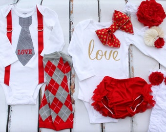 Twins Baby Boy & Baby Girl Valentine's Day Outfits. Boy Personalized Tie Suspenders, Girl Bow Bodysuits, Leg Warmers Bloomers, Coming Home